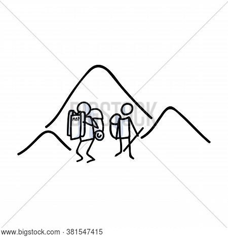 Hand Drawn Stickman Hiking With Map Concept. Simple Outdoor Vacation Doodle Icon For Staycation, Fam