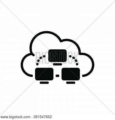 Black Solid Icon For Cloud-computing Computing Cloud Link Server Hosting Communication Connection Da