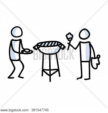Hand Drawn Stickman Camping Cookout Bbq Concept. Simple Outdoor Vacation Doodle Icon For Staycation,