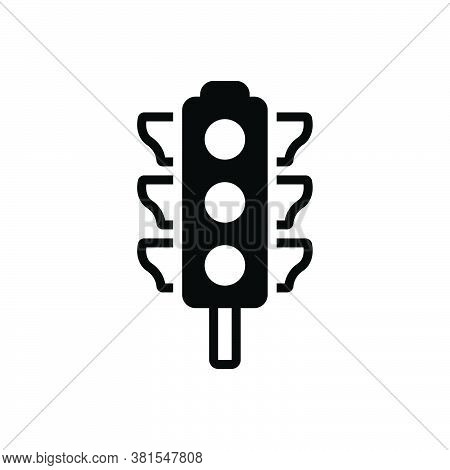 Black Solid Icon For Traffic-light  Stoplight Semaphore Regulation Crosswalk Signal Control Sign Saf