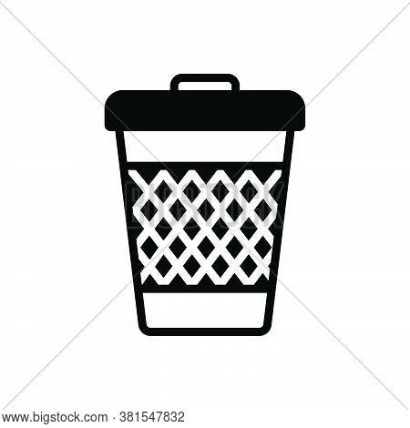 Black Solid Icon For Trash-can Trash Can Garbage Waste Basket Container Junk Debris Detritus Rubbish