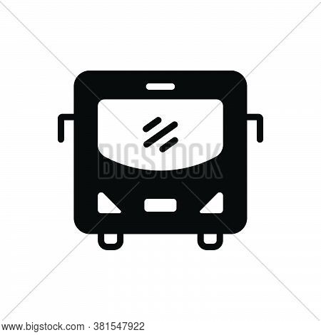 Black Solid Icon For Bus Carriage Carry Transit Conveyance Transportation Passenger Travel Commercia