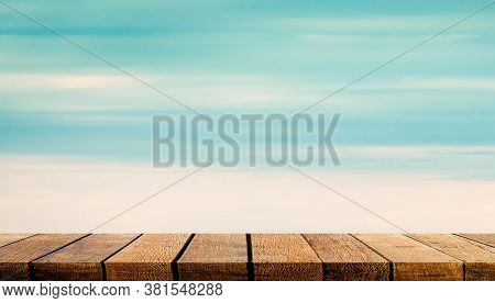 Display Wooden Board Shelf Table Counter With Copy Space For Advertising Backdrop And Background Wit