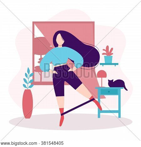 Fitness And Healthy Lifestyle. Stay At Home Concept. Plump Girl With Long Dark Hair Doing Leg Swing