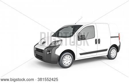 white cargo minivan on white background. 3d render.