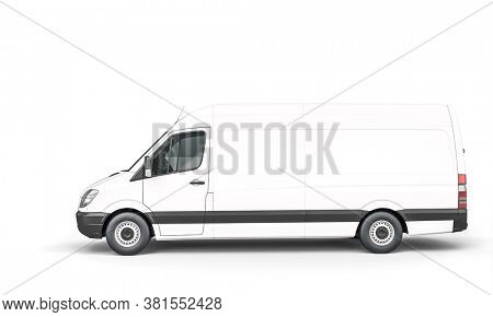 white van for shipping and logistics. 3d render.