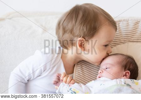 Newborn Baby Lies In Rocking Chair Indoors. Brother Kiss His Little Sister. Kids With Small Age Diff