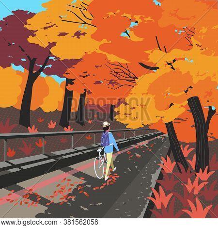 Autumn Fallen Trees Alley City Garden. Hand Drawn Flat Design Cartoon. Autumnal Gold Red Shades Leav