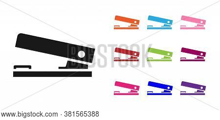 Black Office Stapler Icon Isolated On White Background. Stapler, Staple, Paper, Cardboard, Office Eq