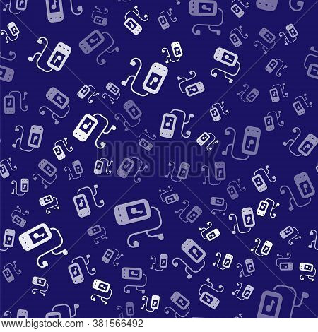 White Music Player Icon Isolated Seamless Pattern On Blue Background. Portable Music Device. Vector