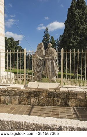 Statue Of Pope Paul Vi And Patriarch Atenogoras I That Is Next To The Basilica Of The Annunciation I
