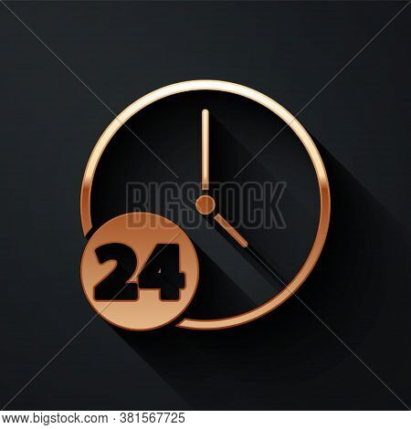 Gold Clock 24 Hours Icon Isolated On Black Background. All Day Cyclic Icon. 24 Hours Service Symbol.