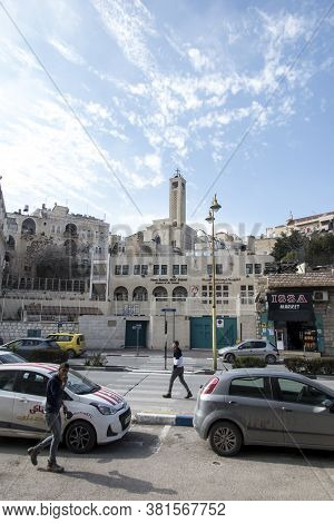 Bethlehem, Palestine - January 28, 2020: Square In Front Of The Basilica Of The Nativity Of Jesus Ch