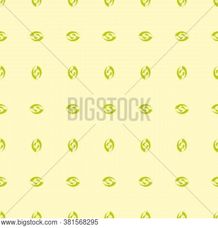 Repetition Of Green Abstract Nut Shape Vertical And Horizontal Arranged With Yellow Background Eps 1