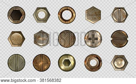 Old Screw And Nail Heads, Steel Metal Bolts, Rusty Rivets Hardware. Round And Hexagon Copper Or Bras