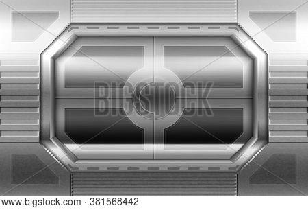 Metal Door, Sliding Gates In Spaceship Hallway Interior. Closed Shuttle Or Secret Laboratory Entranc