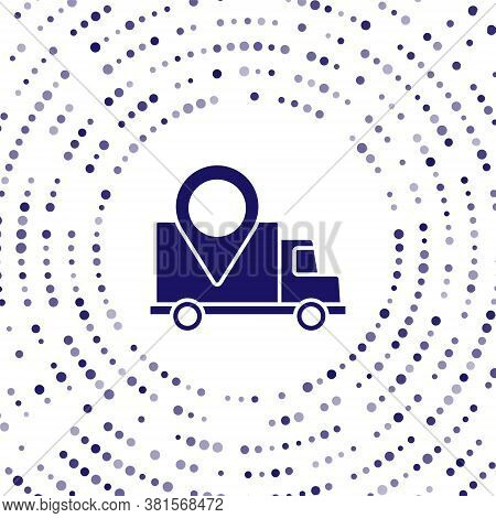 Blue Delivery Tracking Icon Isolated On White Background. Parcel Tracking. Abstract Circle Random Do