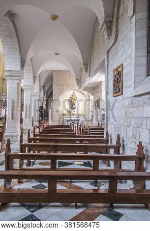 Bethlehem, Palestine. January 28, 2020: Part Of Interior Of The Church Of St. Catherine In Bethlehem