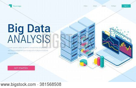 Big Data Analysis Isometric Landing Page. Information Research System, Laptop With Graphics Charts O