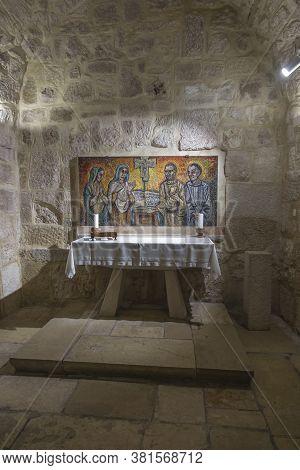 Bethlehem, Palestine, January 28, 2020: Caves Under The Basilica Of The Nativity In Bethlehem. Simpl