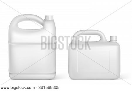 Plastic Canisters, White Jerrycan Bottles Of Different Shapes And Volumes. Isolated Detergent, Engin
