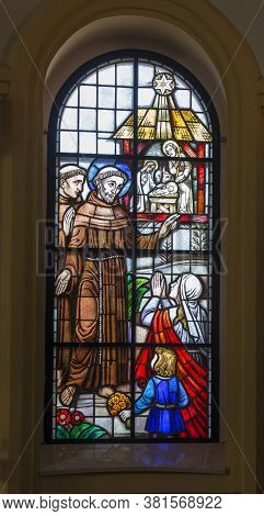 Kalety Miotek, Poland, April 7, 2020: Stained Glass Window In The Church Of St. Francis Of Assisi In