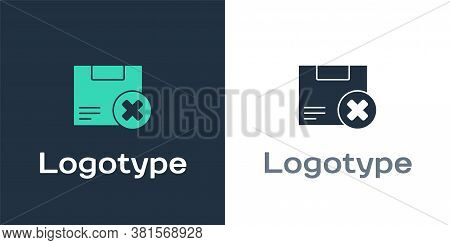 Logotype Carton Cardboard Box And Delete Icon Isolated On White Background. Box, Package, Parcel Sig
