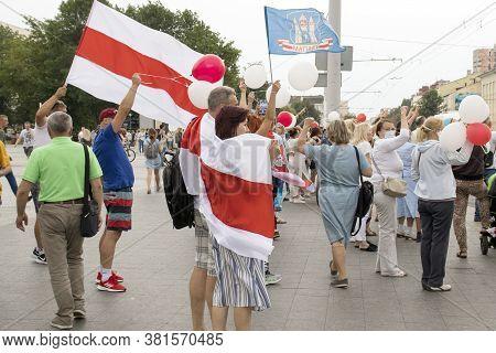 Mogilev. Belarus August 18, 2020: Rally Of The Protesting Opposition Against President Alexander Luk