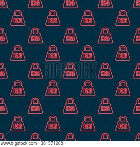 Red Line Weight Icon Isolated Seamless Pattern On Black Background. Kilogram Weight Block For Weight