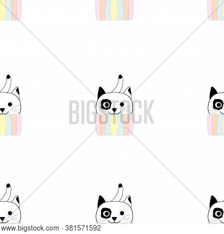 Seamless Repetition Of Comical Cat In Pastel Colors Cupcake Pattern; Vector Illustration