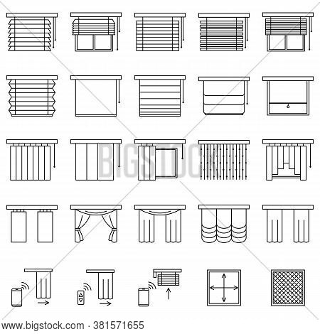 Window Curtains, Blinds And Jalouise Line Icons Set. Collection Of Different Types Of Roller Shutter