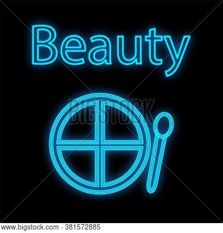 Blue Palette For Eye Makeup And Eyelids. Neon Shadows For Face Decoration. Color Cute Makeup Palette