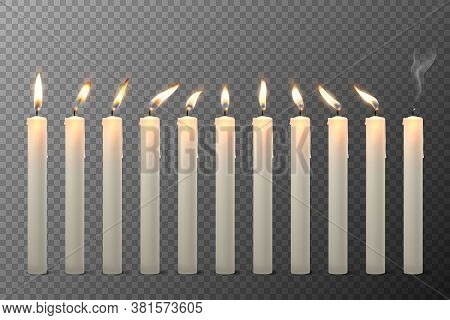 Vector 3d Realistic White Paraffin Or Wax Burning Candles With Different Flame Icon Set Closeup Isol