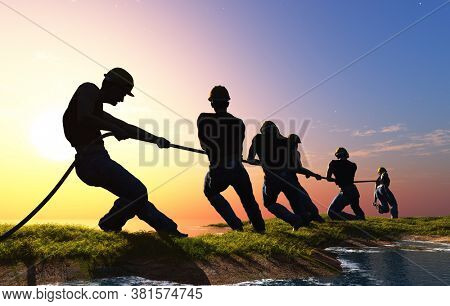 Silhouettes of people pulling the rope.,3d render