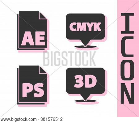 Set Speech Bubble With Text 3d, Ae File Document, Ps File Document And Speech Bubble With Text Cmyk