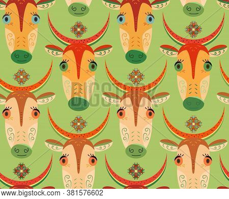 Cartoon Cows With Big Eyes And Watermelon Peel On Head. Seamless Pattern With Cute Cows. Print With