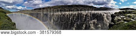 A View Of The Impressive And Powerful Dettifoss Waterfall In Northern Iceland.