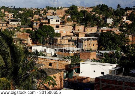 Salvador, Bahia / Brazil - December 11, 2012: View Of Popular Housing In The Neighborhood Of The Paz
