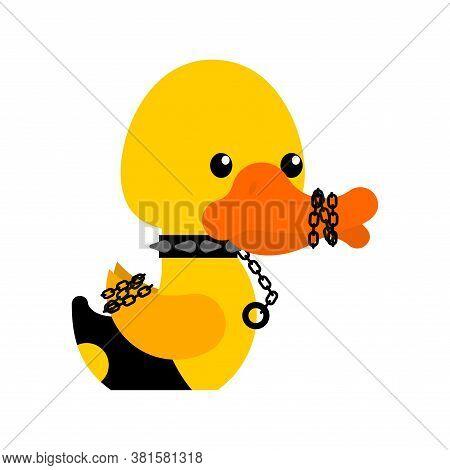 Bdsm Duck. Fetish Toy Rubber Duck In Black Suit. Vector Illustration