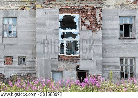 Old Destroyed Abandoned Dirty Raw Wooden Building Of Hospital With The Broken Out Windows