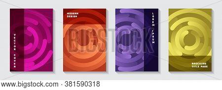 Marketing Magazine Covers Layouts. Flat Banner Circles Goemetry Vector Backdrops. Aim Goal Achieveme