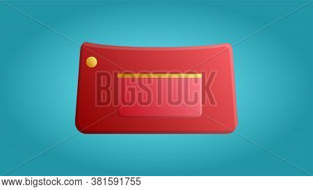Fashionable Beautiful Beauty Glamorous Trend Red Women Bag Clutch Bag On A Blue Background. Vector I