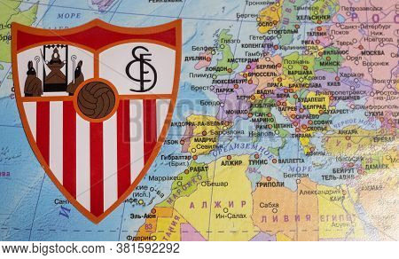August 20, 2020 Cologne, Germany. The Emblems Of The 2019/2020 Europa League Finalist Sevilla Fc Aga