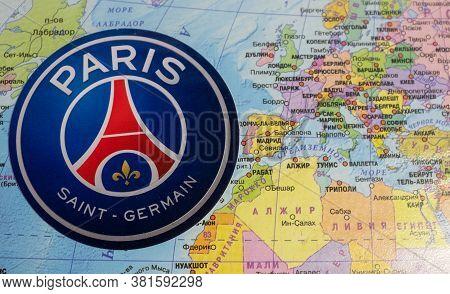 August 20, 2020 Lisbon, Portugal. The Emblems Of The 2019/2020 Uefa Champions League Finalist Paris