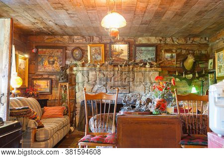 Carthage Usa - September 7 2015; Comfortable Rustic Lodge Style Interior Lounge Room