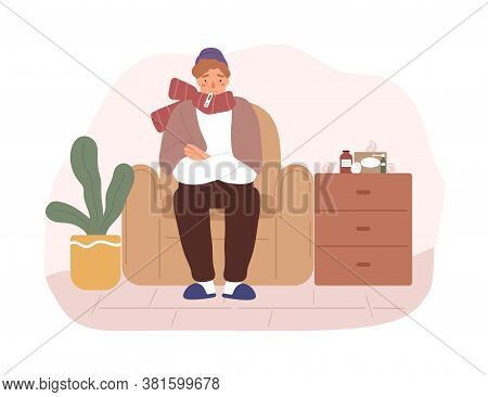 Illness Guy Sit On Armchair With Thermometer In Mouth Vector Flat Illustration. Male In Scarf With F