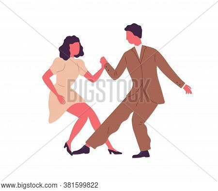Professional Dancers Pair Demonstrate Lindy Hop Or Swing At School Or Lesson Vector Flat Illustratio