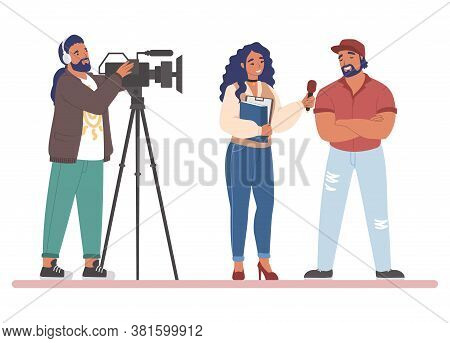 Tv Journalist Or News Reporter Street Interview, Flat Vector Illustration