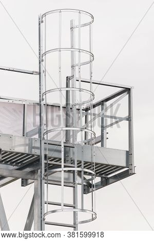 Ladder On Silo For Storage Grain After Harvest, Detail Of Agricultural Equipments Concept