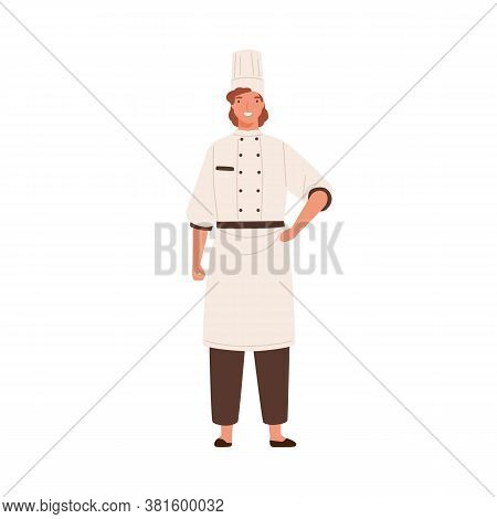 Smiling Female Chef In Toque And Uniform Vector Flat Illustration. Happy Woman Professional Cooker S